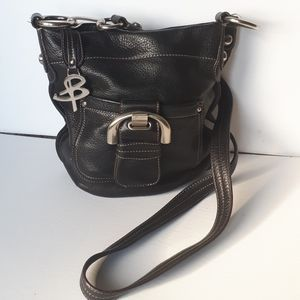 B Makowsky Black Pebble Leather Cross Body Bag